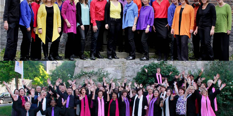 "Gospelchor ""Swinging-Rainbow"" (oben) und ""Emmanuel Gospel Choir"" (Paris) (unten)"