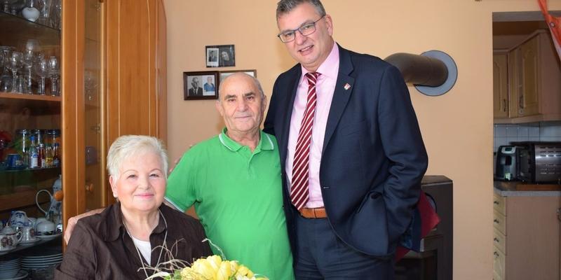 Ehepaar Margheriti mit Bürgermeister Vehreschild